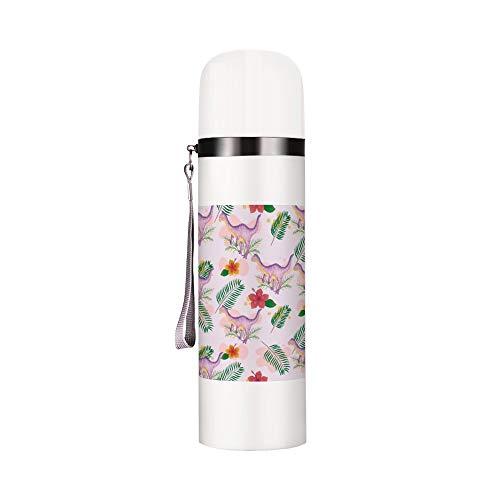 Vakuum-isolierte Trinkflasche Thermo Reisebecher hält warm und kalt Flasche Clip Art rosa Dinosaurier Blatt auslaufsicher Kaffeebecher für Schule Arbeit Outdoor Sport 340 ml