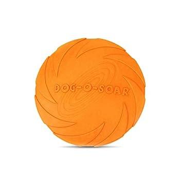 JieGuanG Frisbee Jouet élastique en caoutchouc pour animaux de compagnie de petite taille et moyenne Orange