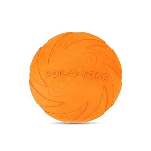 JieGuanG Frisbee, giocattolo elastico in gomma per cani e gatti di piccole e medie dimensioni, arancione