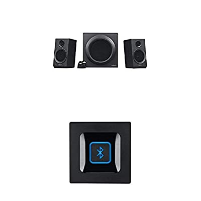 Logitech Z333 Multimedia Speakers, Black with Bluetooth Receiver Audio Adapter from