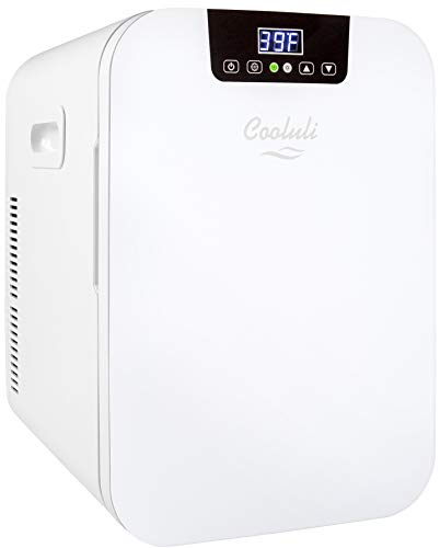 Cooluli 20L Mini Fridge For Bedroom - Car, Office Desk & College Dorm Room - Glass Front & Digital Temperature Control - 12v Small Refrigerator for Food, Drinks, Skincare, Beauty & Breast Milk (White)
