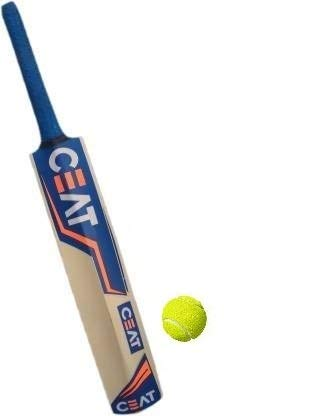 PMG Rohit Sharma Poplar Willow Cricket Bat with Tennis Cricket Ball Size-Full for Boys Above 12+ Years (1 Bat and 1 Ball)