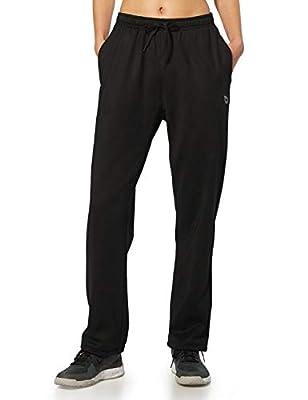 BALEAF Women's Running Thermal Fleece Pants Zipper Pocket Athletic Joggers Sweatpants Adjustable Ankle Winter Track Pants Black Size L