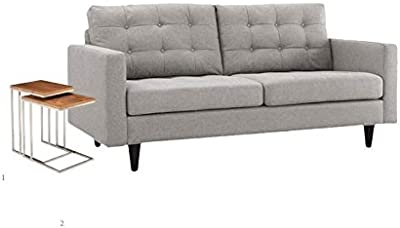 Home Square Living Room Set with Nesting Table and Light Gray Loveseat