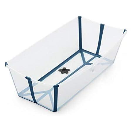STOKKE® Flexi Bath® XL│Versione grande della vasca da bagno pieghevole per bambini│vaschetta portatile adatta per bambini da 0 mesi fino ai 6 anni│Colore: XL Transparent Blue