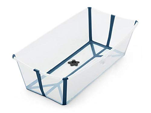 STOKKE® Flexi Bath® XL - Baignoire pliante large pour bébés et enfants jusqu'à l'âge de 6 ans - Couleur: Transparent bleu