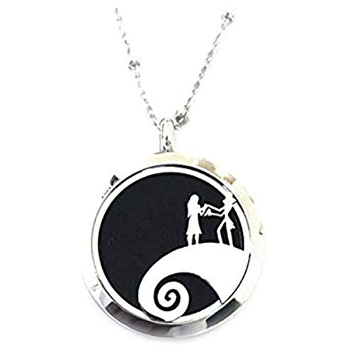 FIKA The Nightmare Before Christmas Jack Skellington Car Air Freshener Diffuser Vent Clip Or Necklace Locket Aromatherapy Essential Oil Great for Travel Pads (Necklace)