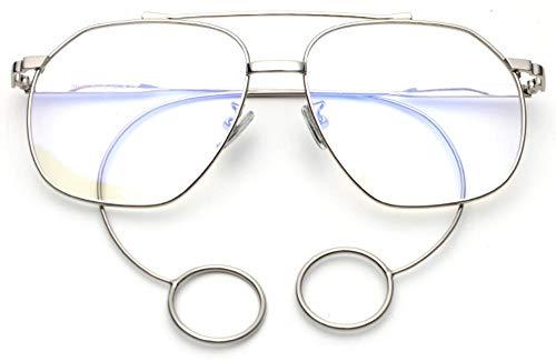WDDYYBF zonnebril, Super Star mode dames zonnebril metalen oorbel mannen zonnebril vintage zonnebril oversized brilmontuur Uv400 zilver frame