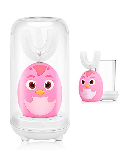 Beedove Cepillo de Dientes Eléctrico para Niños, 3 Modos Sonic Cepillo en Forma de U Niños, con Carga USB y Función IPX7 Prueba Agua, para Niños Pequeños de 2 a 6 Niño (Rosado)