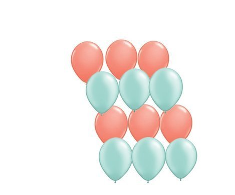 Assorted Mint Green and Coral Latex Balloons - 12 Pack