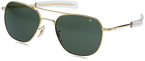 American Optics Flight Gear Original Pilot Sunglass, 57-mm Gold Frame with Bayonet Temples, True Color Grey Glass Lens