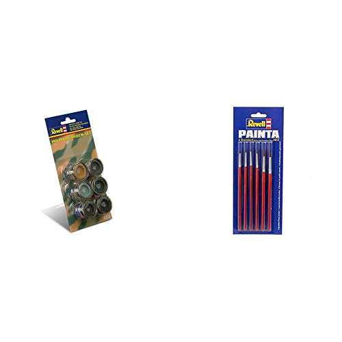 Revell 32340 Militärfarben-Set (6x14ml Farben) Modellbau-und Bastelzubehör, Farbset & 29621 - Pinselpalette Standard, 6 Stück