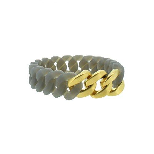 Hanse-Klunker Armband Damen Mini Silikon Grau, Edelstahl Gold Matt Armreif Armkette Frauen Mädchen Größe 19-20 cm inkl. Schmuck-Geschenk-Box