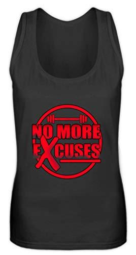 Generic No More Excuses – Gym Training Diseño de motivación – Diseño sencillo y divertido – Camiseta de tirantes para mujer Negro M