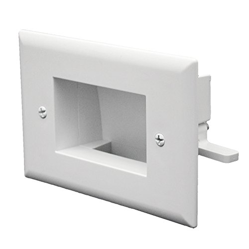 DataComm Electronics 45-0008-WH Easy Mount Recessed Low Voltage Cable Plate - White