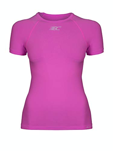 BODYCROSS T-Shirt Compression Manches Courtes Femme Eleni Rose Running, Trail, Training - Polyamide Skinlife/Élasthane - Col Rond, Coupe Compression, Evacuation Rapide Transpiration