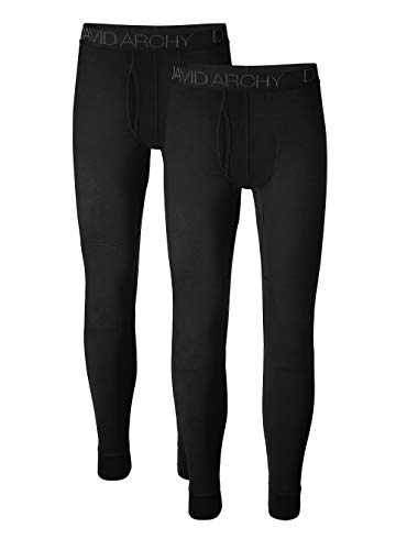 DAVID ARCHY Men's 2 Pack Ultra Soft Winter Warm Base Layer Pants Fleece Lined Thermal Bottoms Long Johns with Fly (M, Black)
