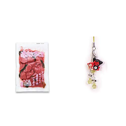 [2点セット] 赤かぶすぐき(160g)・さるぼぼペアビーズストラップ 【緑】/縁結び・魔除け//