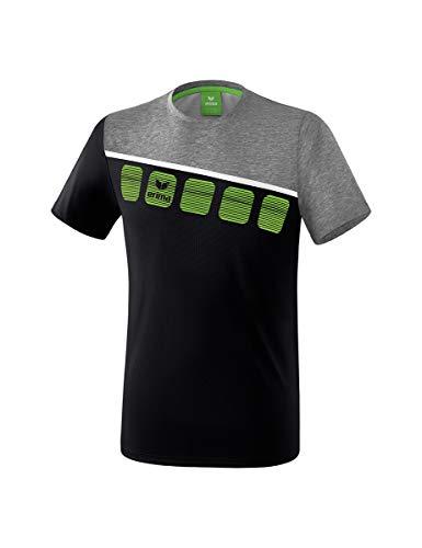 ERIMA Kinder T-shirt 5-C T-Shirt, schwarz/grau melange/weiß, 164, 1081904