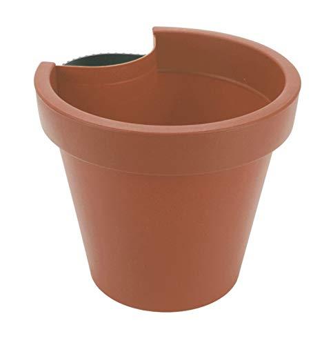 Spetebo Maceta para tubería de desagüe, color terracota, 24 x 21 cm, para tubo de bajada, maceta, canalón, maceta colgante redonda