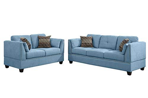 Poundex F6918 Bobkona Zenda Velvet 2 Piece Sofa and Loveseat Set, Hydra Blue