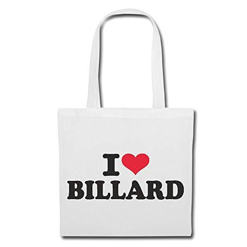 Tasche Umhängetasche I LOVE BILLARD - BILLARDSPIELER - BILLARDSPIELERIN - BILLARDHALLE - BILLARDTISCH Einkaufstasche Schulbeutel Turnbeutel in Weiß