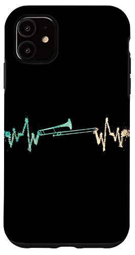 iPhone 11 Marching Band Trombone Watercolor Heartbeat Phone Case