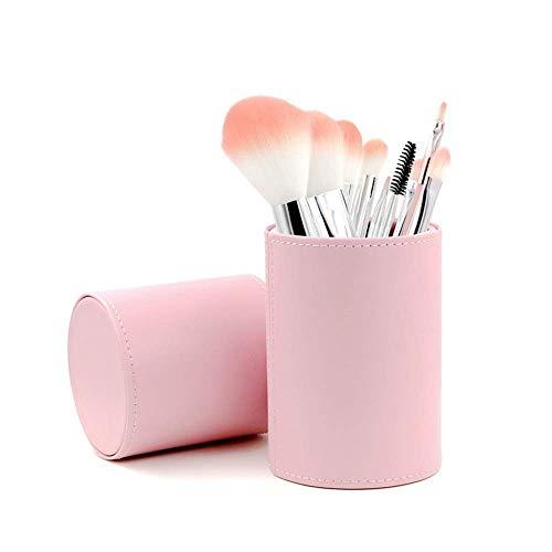 JFFFFWI Ensemble de pinceaux de Maquillage 8 pièces avec Baril cosmétique Portable, brosses à Poils synthétiques pour débutant (Couleur: Rose)