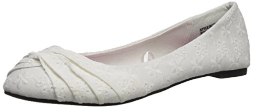 Twisted Ruby Womens Flats, Canvas Ballet Flats with Comfort Cushioned, Contrast Rainbow Insole, White, 10