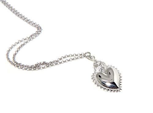 NALBORI collana donna argento 925 cm 45+5 con ciondolo sacro cuore fiamma ex voto bagno oro bianco