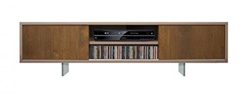 Bois & Design Meuble bas de porte TV en chêne 2 portes coulissantes pieds cristal