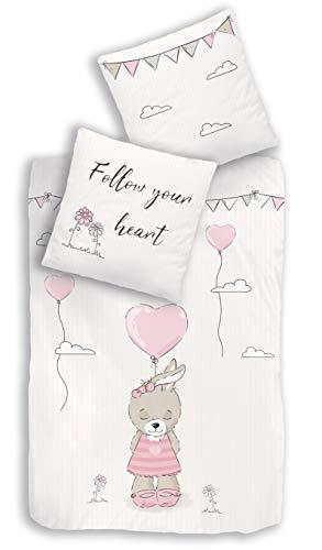 termana HASENMOTIV Bettwäsche Set · Kinder-Bettwäsche für Mädchen · Follow Your Heart · Hase, Wolken & Herz · Kissenbezug 80x80 + Bettbezug 135x200 cm - 100% Baumwolle