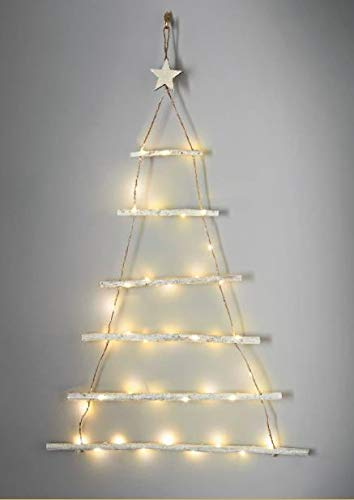 spot on dealz 40 Warm White LED Lights Twig Wall Tree WHITE FROSTED Christmas Decoration Indoor Use Only