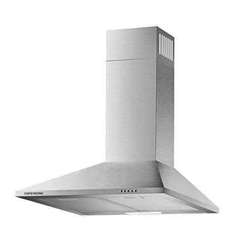 Dunstabzugshaube 60cm, Wandmontage Edelstahl Wandabzugshaube Küchenabzugsventilator, inkl. Aluminium Fettfilter, Silber, TopStrong [Energieklasse B]