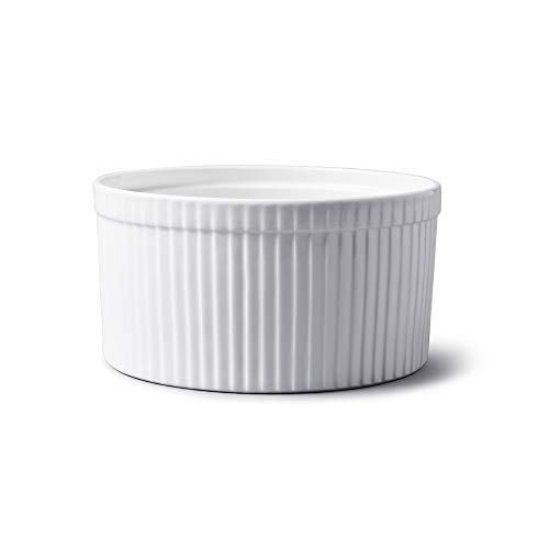 WM Bartleet & Sons 1750 T178 Traditionelle Porzellan-Soufflé-Schale, 18 cm Durchmesser, 1,6 l Fassungsvermögen, Weiß
