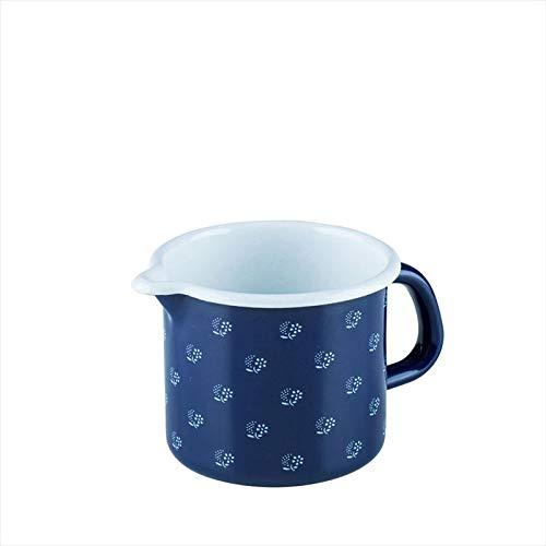 Riess, 0038-074, Schnabeltopf 9 0,5 L, COUNTRY - DIRNDL, Durchmessser 9 cm, Höhe 8,5 cm, Inhalt 0,5 Liter, Emaille, blau/weiß
