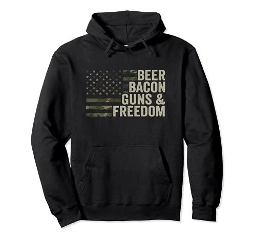Pistole di birra e libertà – divertente barbecue bere pistola mimetica Felpa con Cappuccio