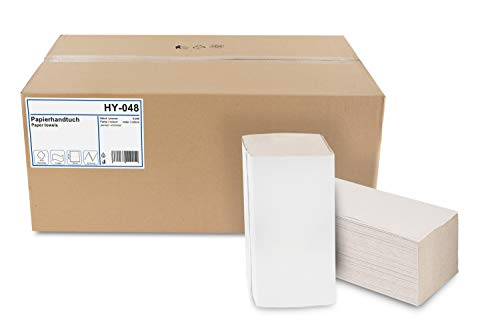 Hypafol Papierhandtücher für Spender | Recycling, 1-lagig, 25 x 23 cm | 5.000 Blatt | ZZ/V-Falz geeignet für Handtuchspender in Toiletten, Büros, Praxen und Studios