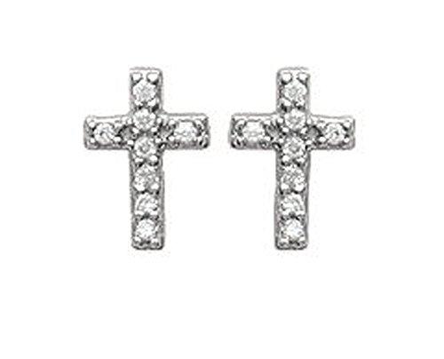 Pendientes de plata 925/000y óxido de circonio diamantes–Cruz con pedrería, color blanco–Joyas Mujer Hombre Unisex niño niña