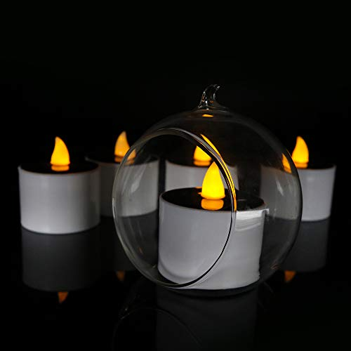 Youngerbaby 6pcs Solar Powered Yellow Tea Light Candles, Romantic Flickering Flameless Pillar Night Light for Party Centerpiece, Windows, Candle Holders, Luminaries, Wedding, Emergency
