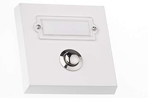 HUBER Klingel Klingeltaster 12047, 1-fach aufputz, rechteckig, Echtmetall, weiß, mit Namensschild aus Polycarbonat