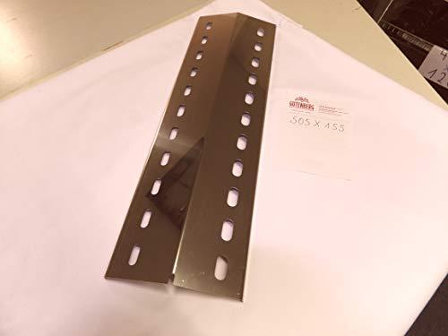 Edelstahl V4A und V2A Flammenverteiler für alle Grills und Größen Brennerabdeckung Hitzeschild Grillblech Brennerblech Gasgrill Grill Landmann 12344ALD, Landmann Atracto (1Stk 505mm x 155mm x 1mm)