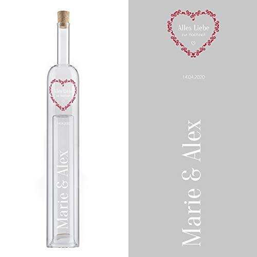 Hohlraumflasche zur Hochzeit (Herz, ohne Holzbox): Geschenkflasche mit 2. Hohlraum und Gravur - persönliches Hochzeitsgeschenk mit Namen und Datum personalisiert - originelle Geschenkidee