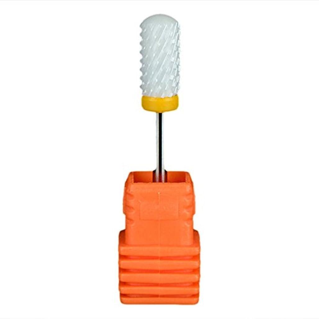 ストレージページェントクスクスSemoic ネイルセラミックドリルビット 回転ジェルネイルサロンツール 3/32インチのマニキュア ホワイト+オレンジ色