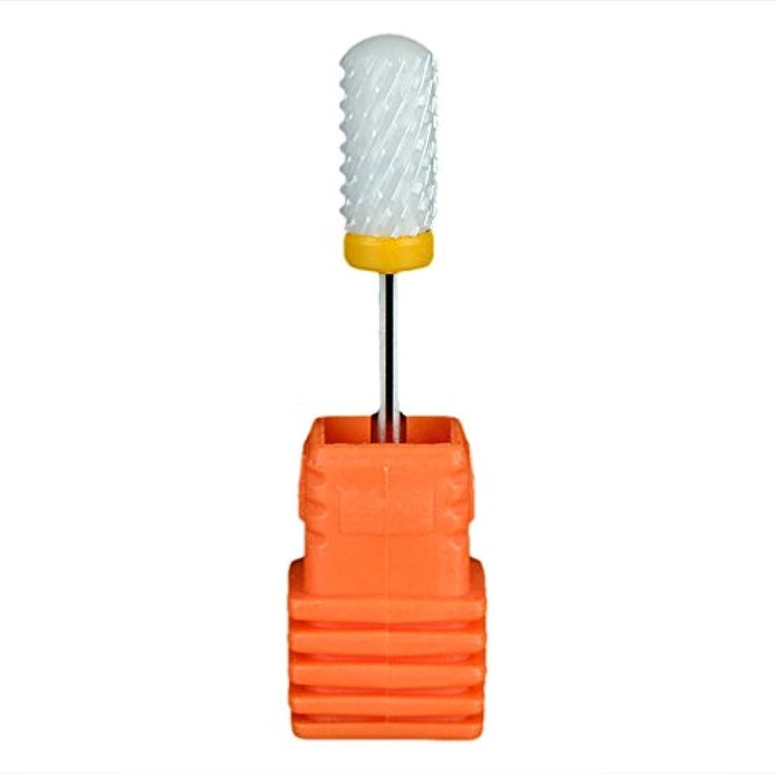 接触理容師傘SODIAL ネイルセラミックドリルビット 回転ジェルネイルサロンツール 3/32インチのマニキュア ホワイト+オレンジ色