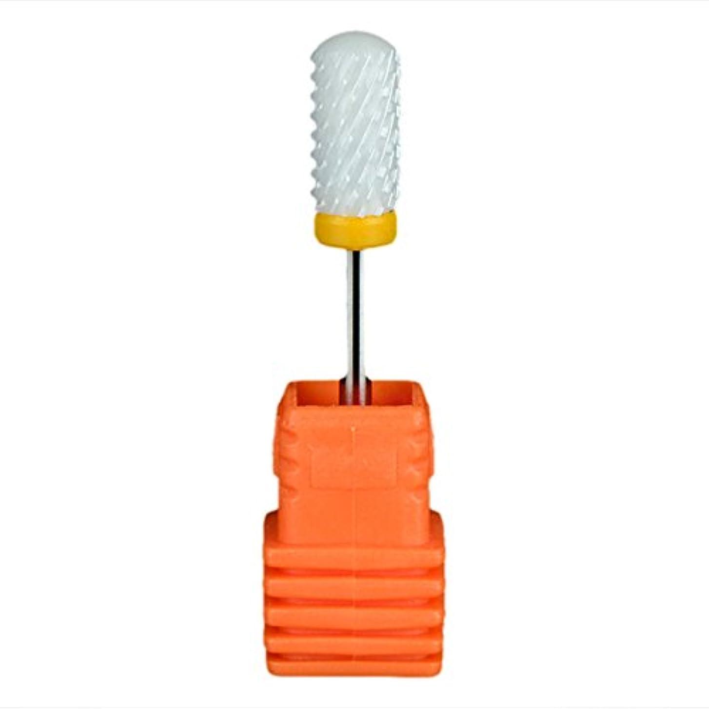 競合他社選手管理聖なるSemoic ネイルセラミックドリルビット 回転ジェルネイルサロンツール 3/32インチのマニキュア ホワイト+オレンジ色