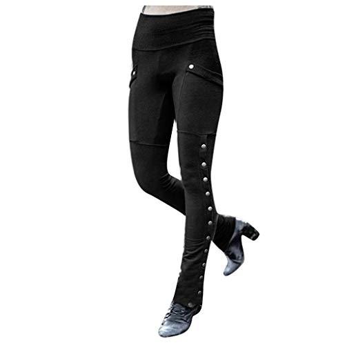 Nihewoo Women Militia Long Trouser Leggings Jogger Sweatpants Straight Leg Cargo Pant Stretch Jogger Pant Black