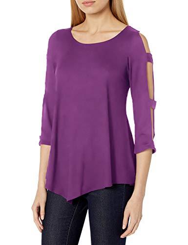 Star Vixen Women's Long Ladder/Bar Sleeve Flattering Hanky Hem Brushed Knit Top, Plum, Small