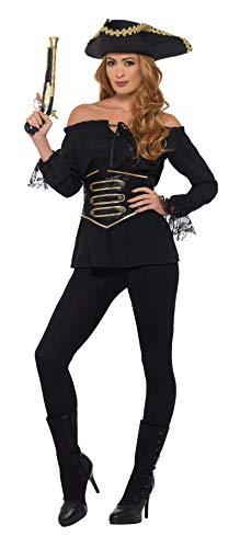 Smiffys Shirt, Ladies Deluxe-Camiseta pirata para mujer, color negro, M-UK Size 12-14...