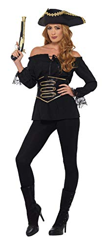 Smiffys 44829M Deluxe Piraten-Shirt für Damen, Schwarz, M - UK Size 12-14